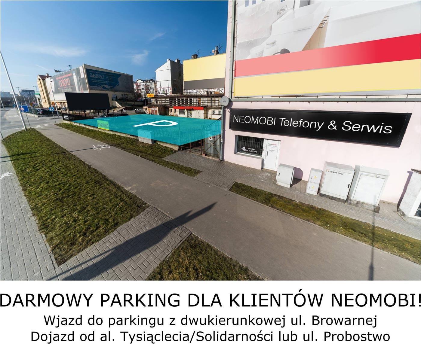 Bezpłatny parking dla klientów salonu Neomobi w Lublinie